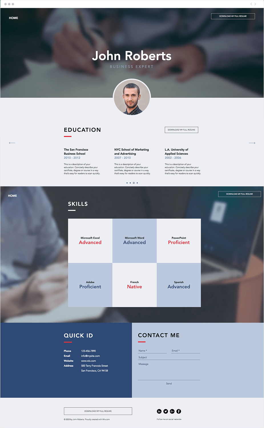 wix resume template • business template ideas