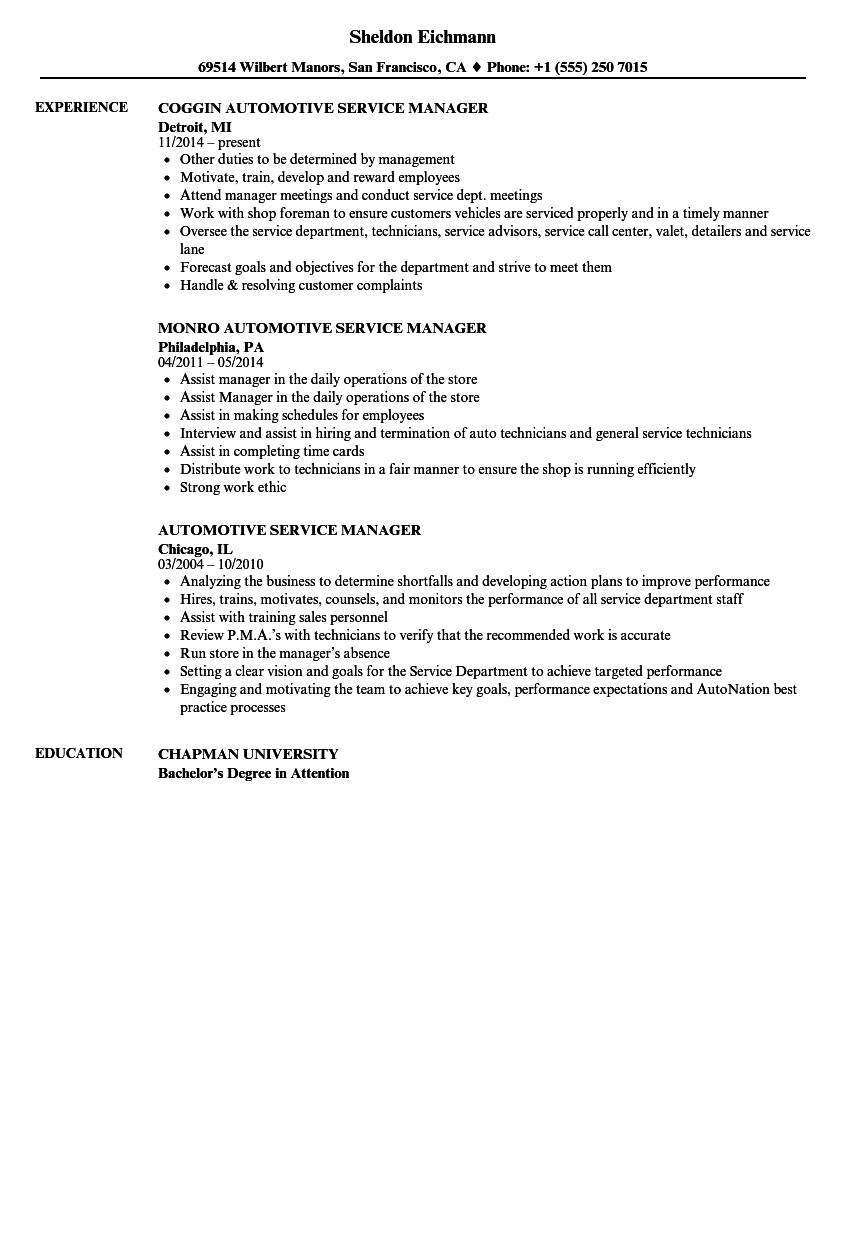 Automotive Service Manager Resume Samples Velvet Jobs Within Sizing 860 X 1240