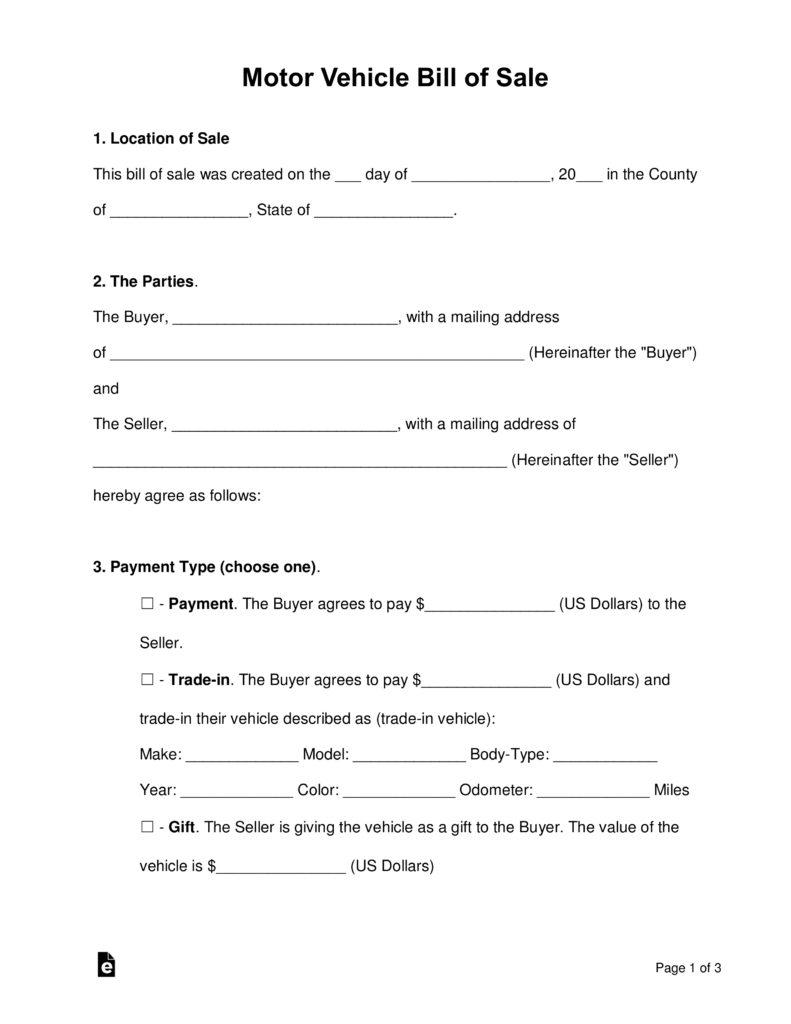 Free Bill Of Sale Forms Pdf Word Eforms Free Fillable Forms for dimensions 791 X 1024