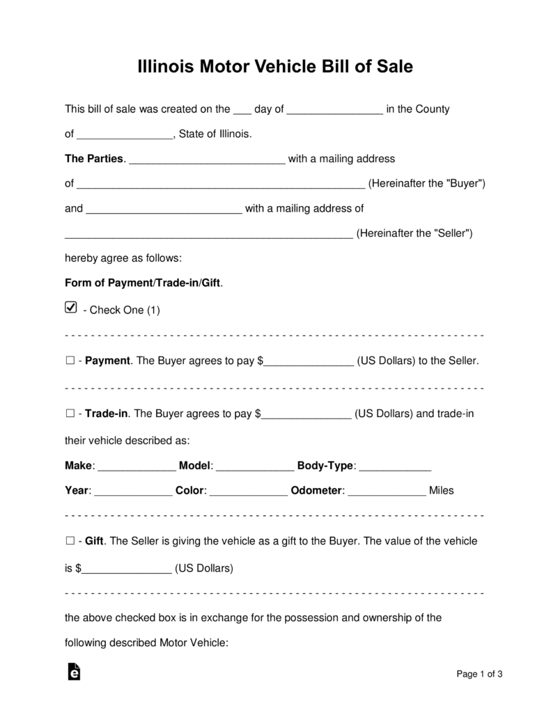 Free Illinois Bill Of Sale Forms Word Pdf Eforms Free within size 791 X 1024