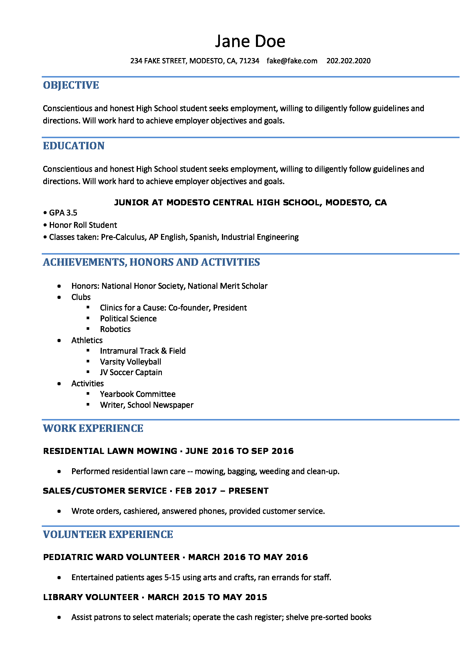 High School Resume Resumes Perfect For High School Students with regard to sizing 1654 X 2339