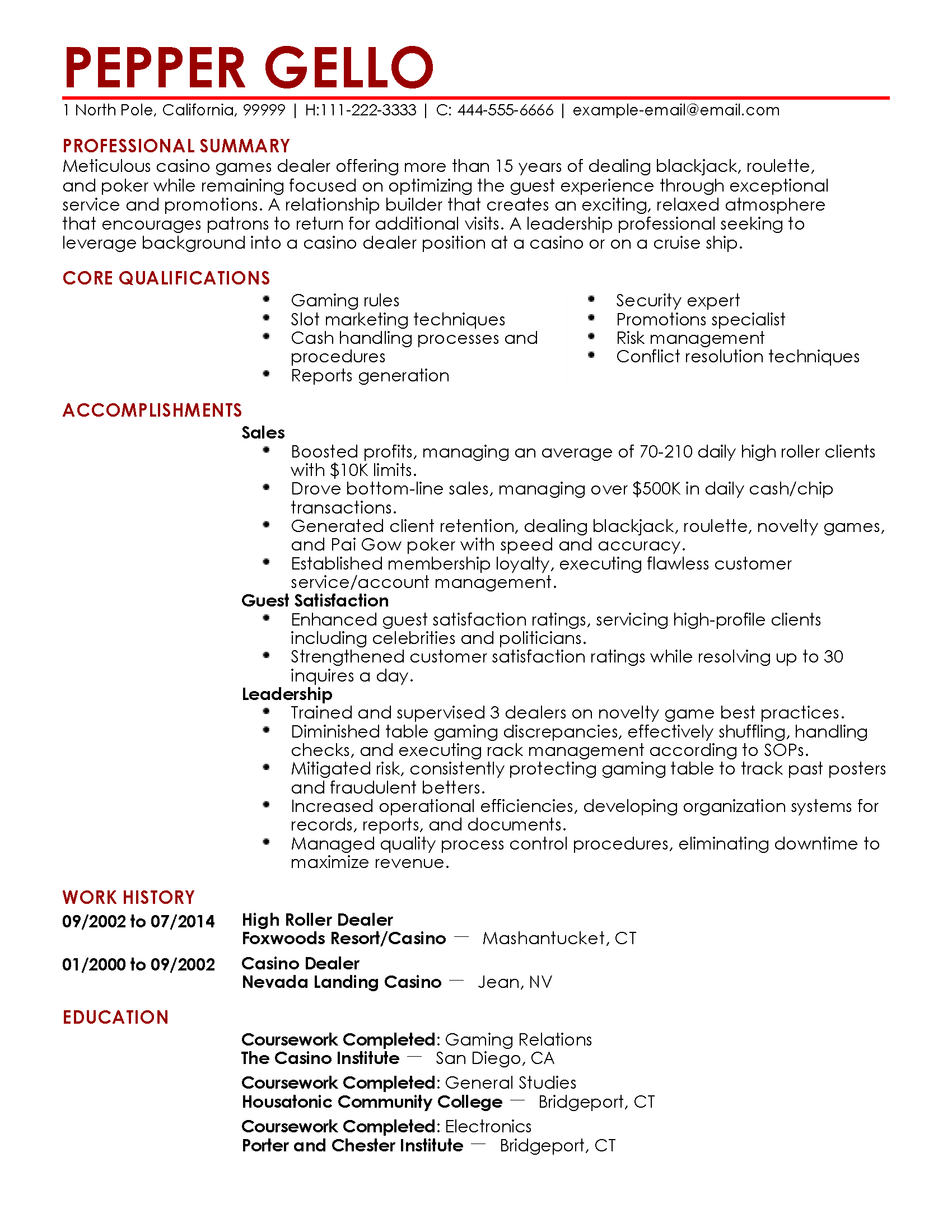 casino resume template  u2022 business template ideas