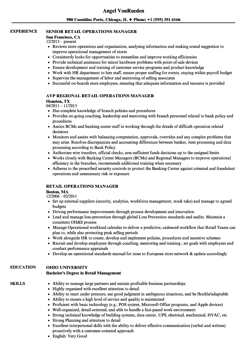 retail operations manager resume templates  u2022 business