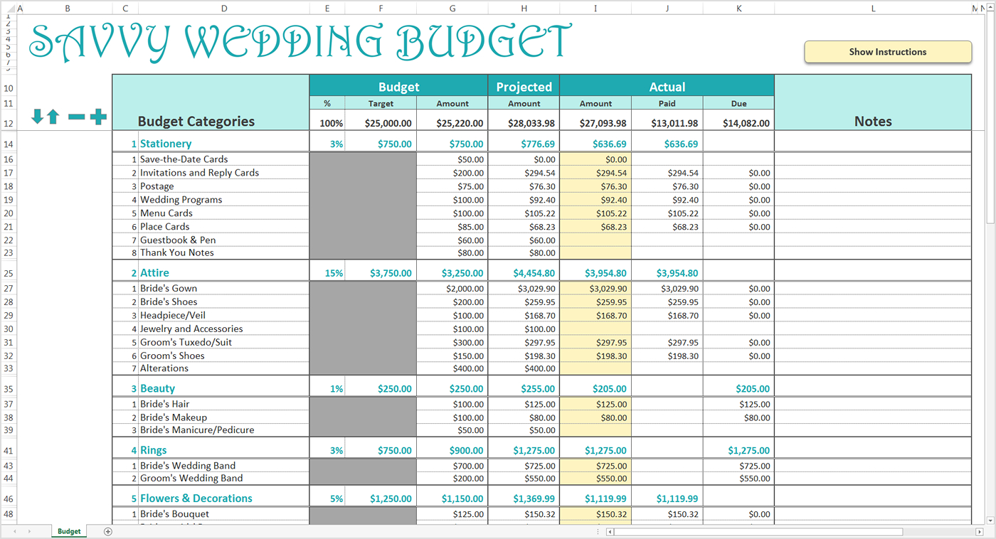 Wedding Budgets Excel Yelomdigitalsiteco for proportions 1400 X 758