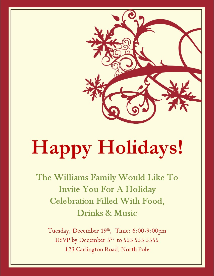 015 Company Christmas Party Invitation Flyer Free Amazing Holiday with regard to size 852 X 1100