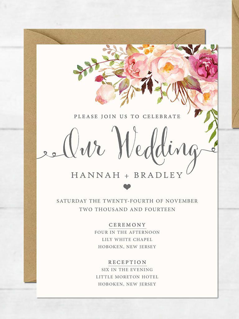 16 Printable Wedding Invitation Templates You Can Diy Wedding with sizing 768 X 1024