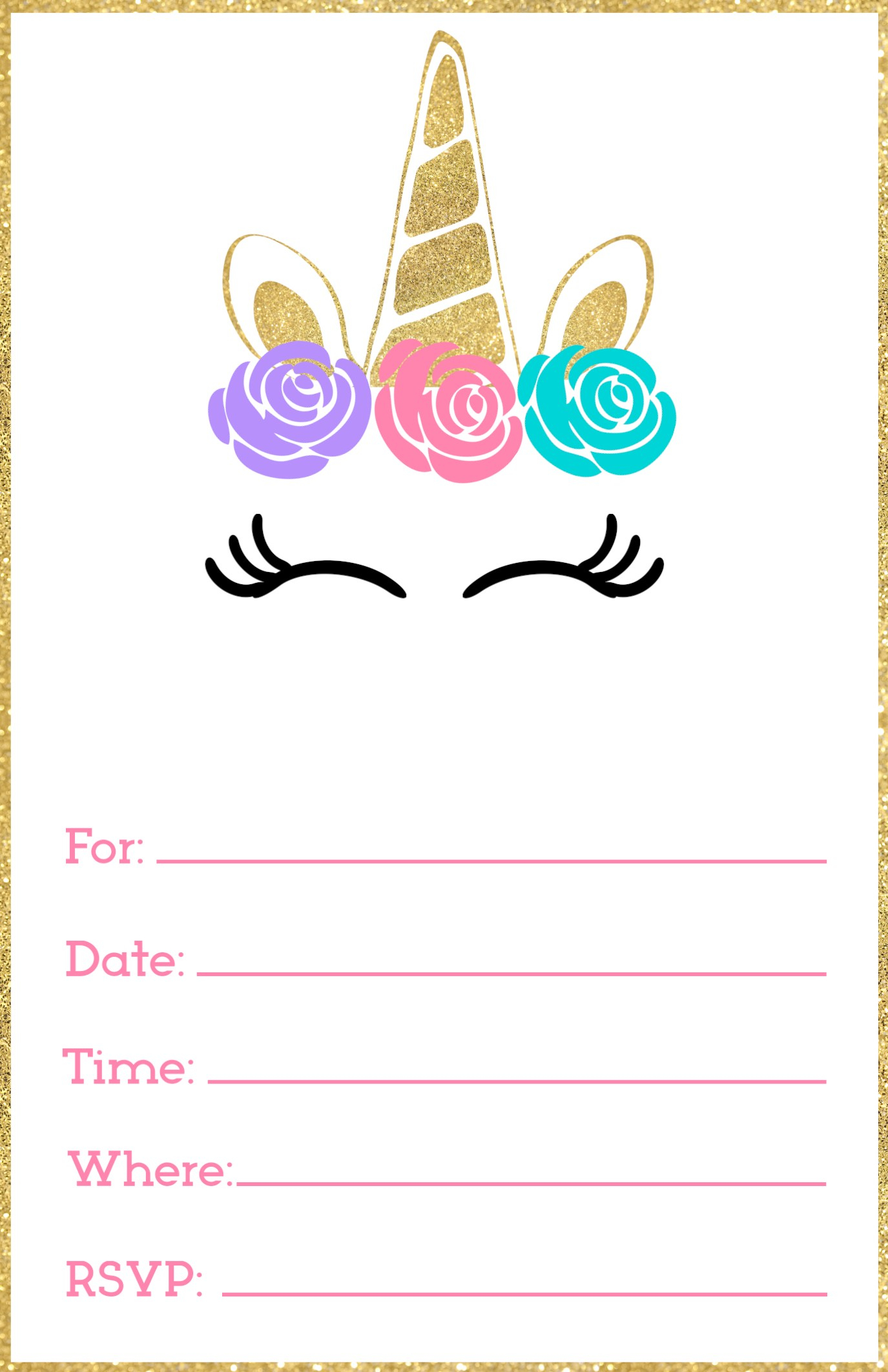 19 Create Amazing Party Invitation Template Unicorn Customize For with size 1375 X 2125