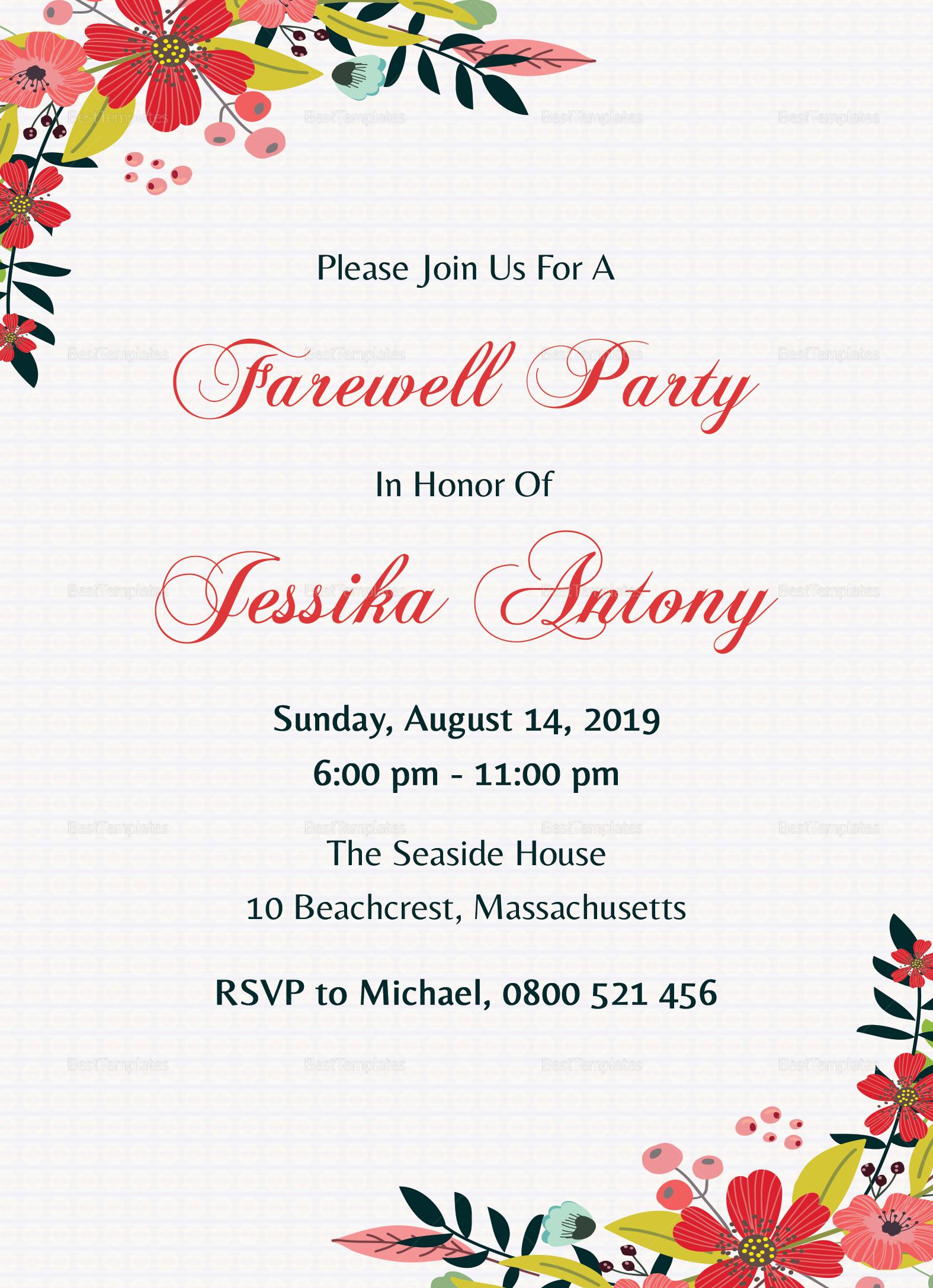 farewell invitation card template • business template ideas