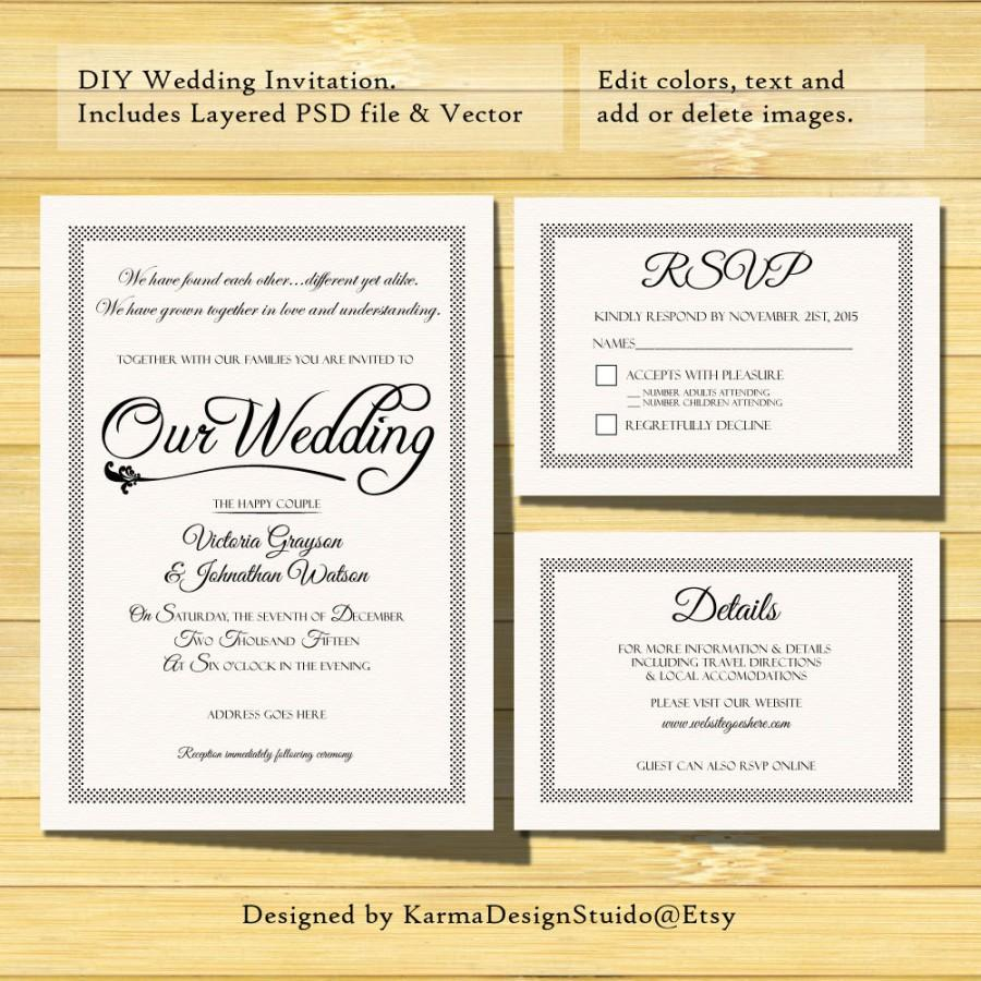 68 Find A Big Collection Of Wedding Invitation Template With Rsvp within sizing 900 X 900