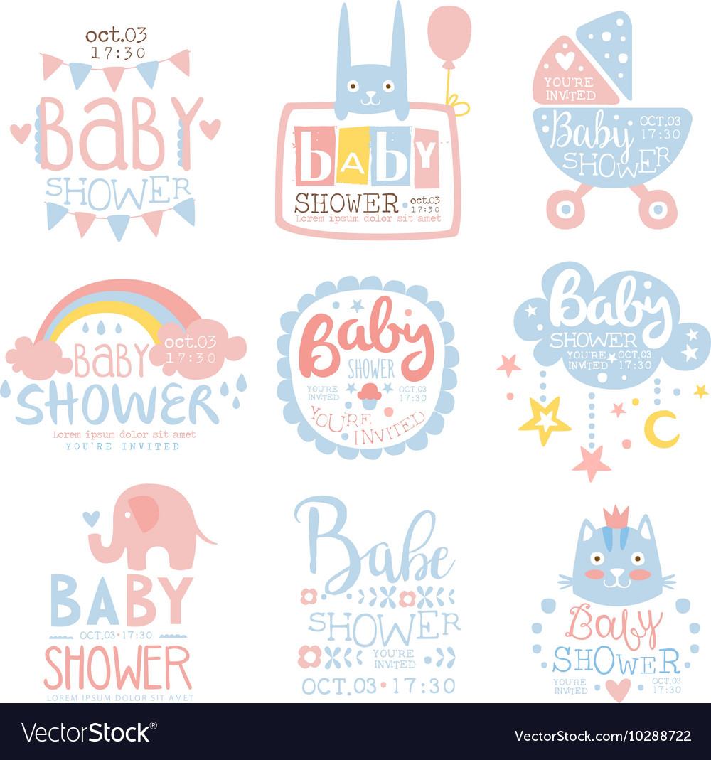 Ba Shower Invitation Template In Pastel Colors Vector Image regarding size 1000 X 1069