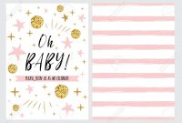 Ba Shower Invitation Template With Sparkle Gold Balls Pink in sizing 1300 X 928