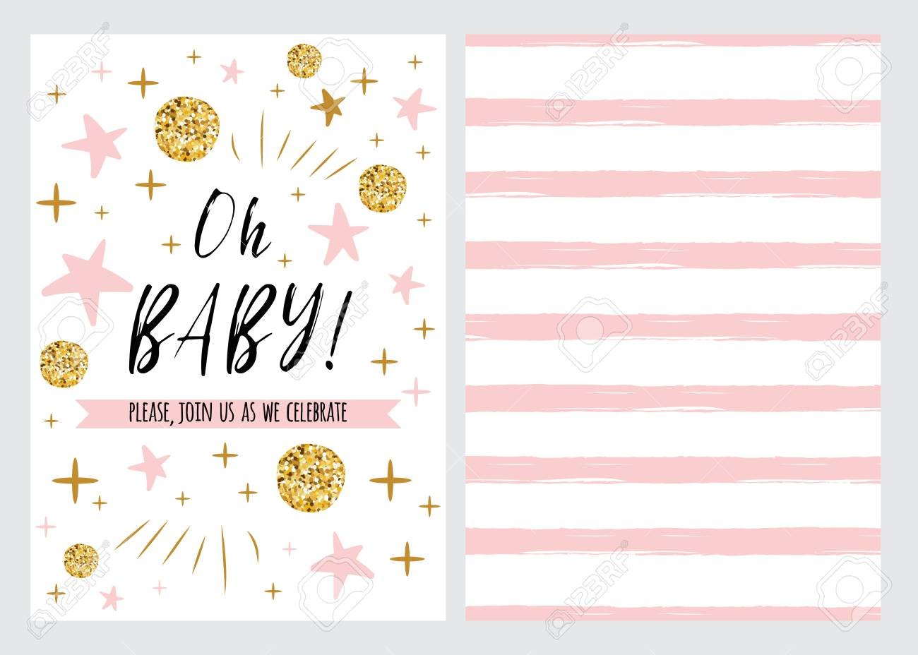 Ba Shower Invitation Template With Sparkle Gold Balls Pink intended for sizing 1300 X 928