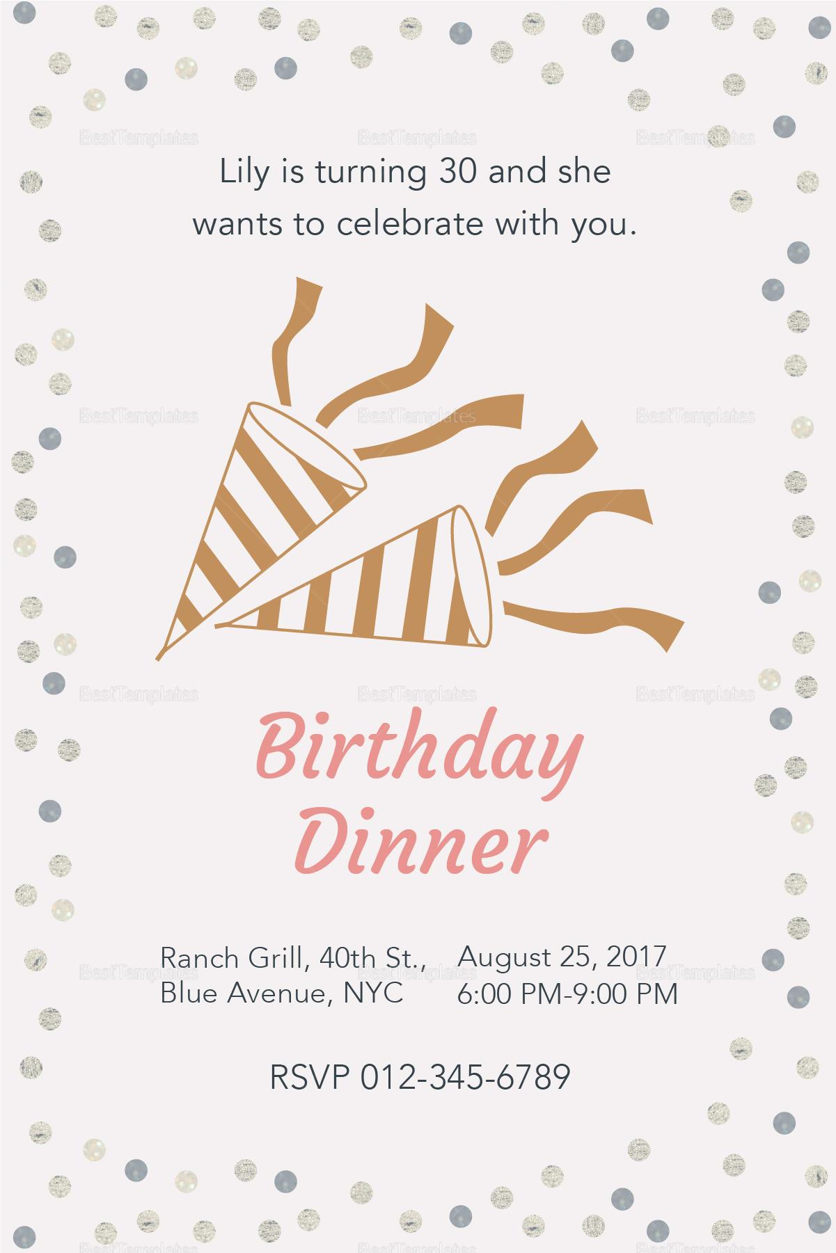 Birthday Dinner Invitation Design Template In Psd Word Publisher regarding measurements 1201 X 1801