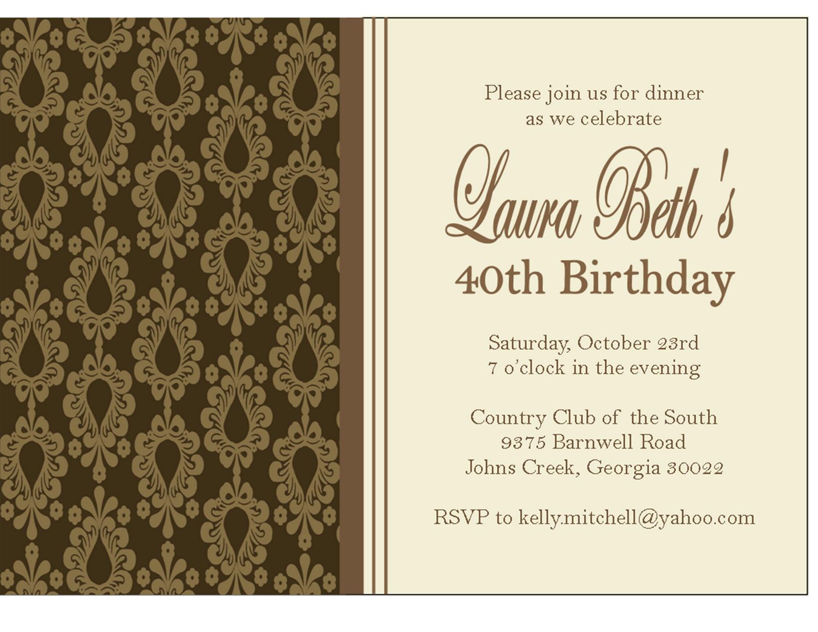 Birthday Dinner Party Invitations Free Printable Birthday inside size 1600 X 1236