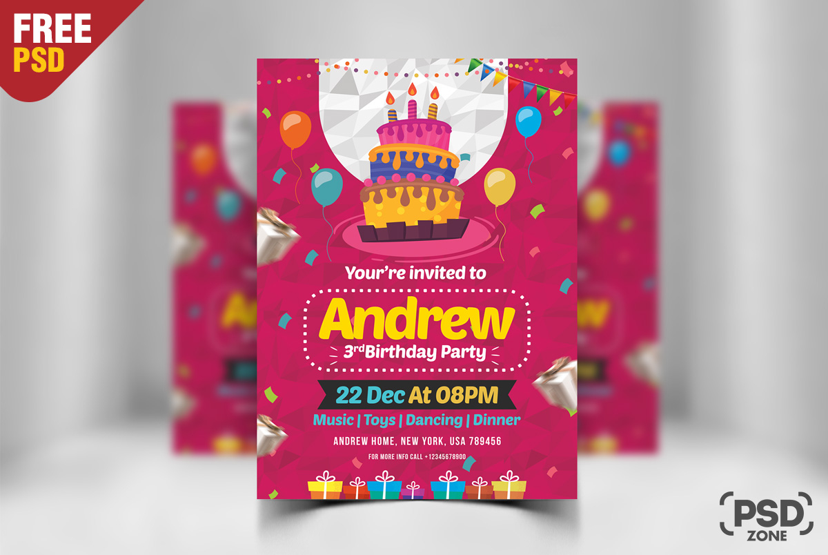 Birthday Invitation Card Design Free Psd Psd Zone within dimensions 1200 X 804