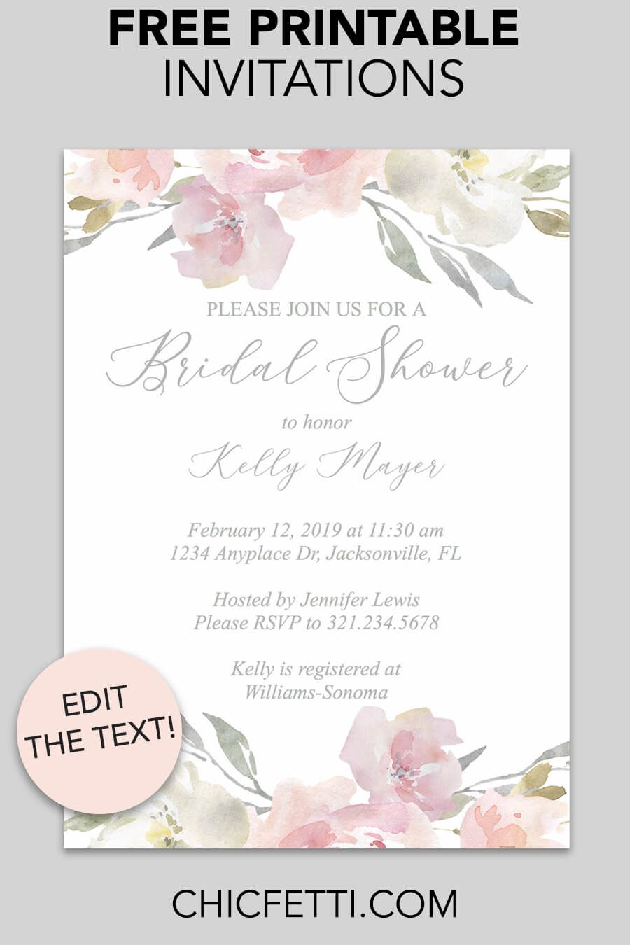 Bridal Shower Printable Invitation Blush Floral Invitations inside measurements 900 X 1350