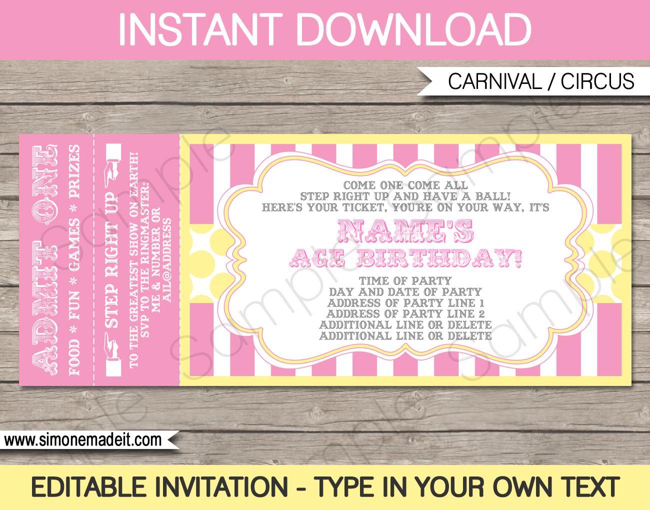 Carnival Birthday Ticket Invitations Template Carnival Circus throughout measurements 1300 X 1020