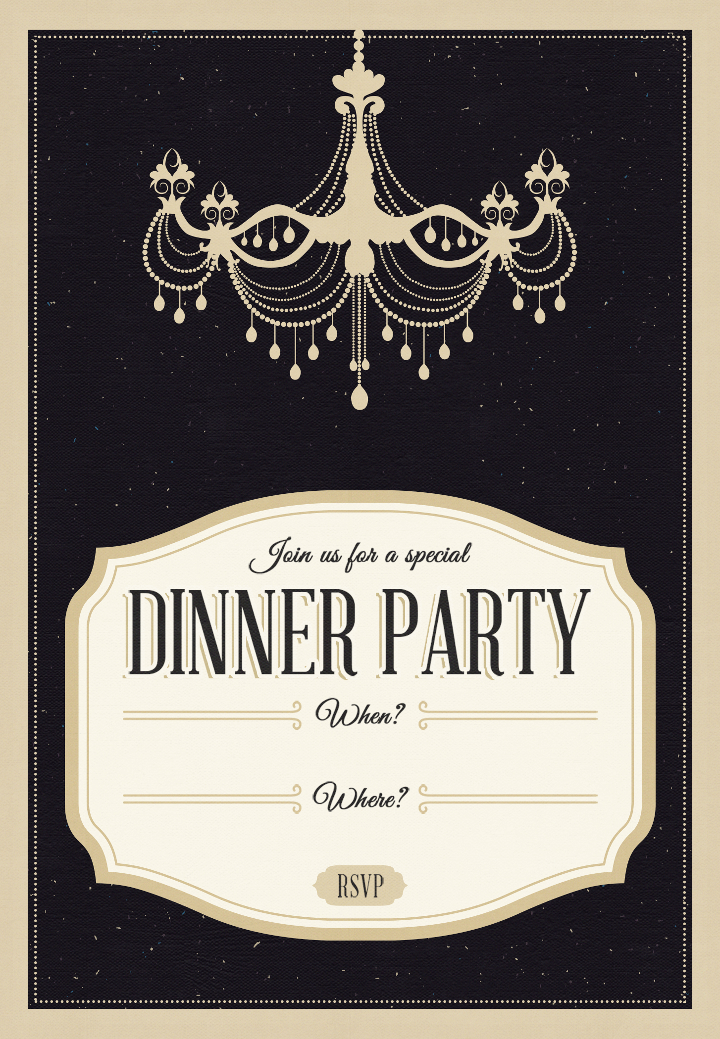 Classy Chandelier Free Printable Dinner Party Invitation Template with measurements 1454 X 2100