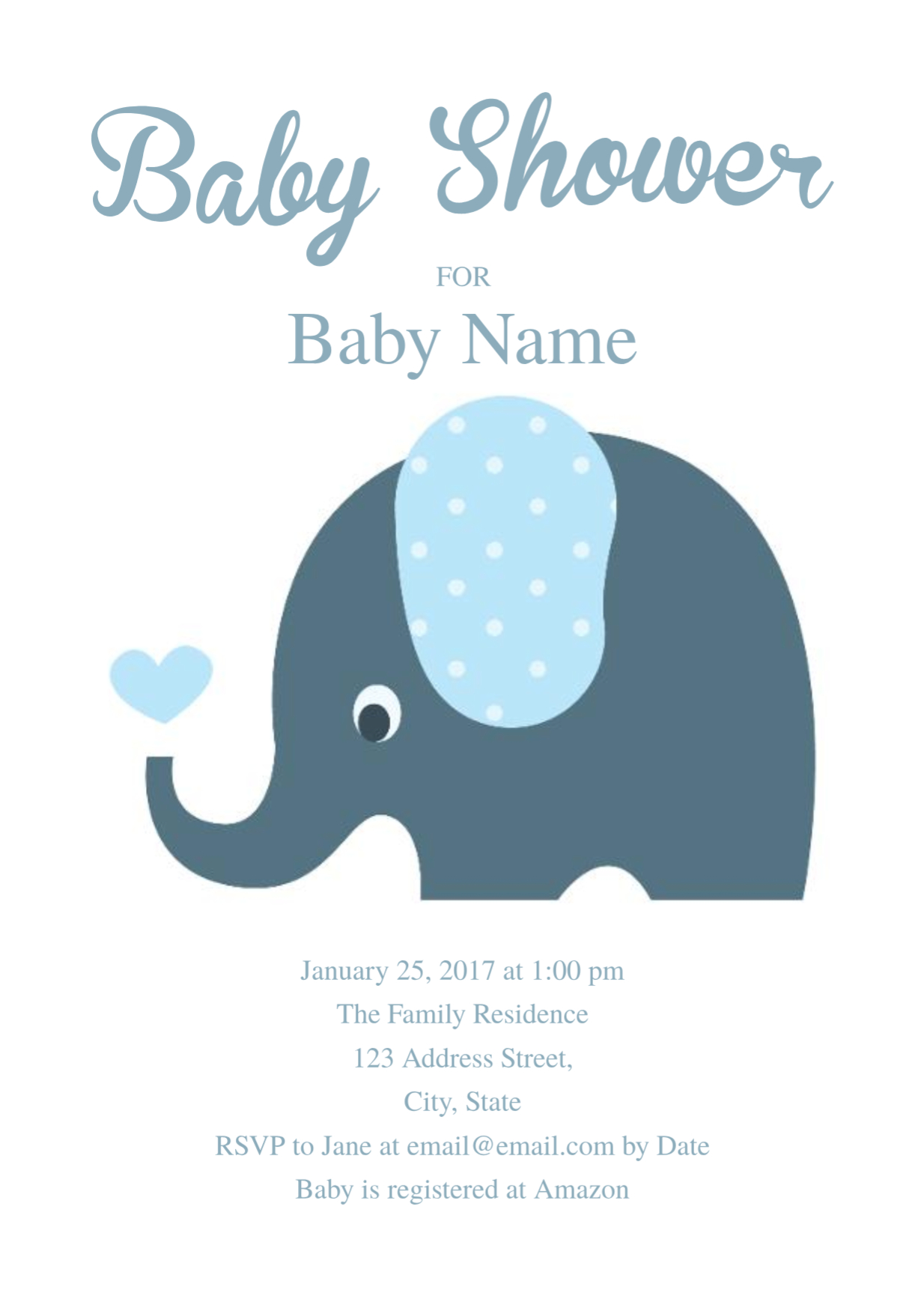 Cute Elephant Ba Shower Invitation Template Free Personal with regard to sizing 1234 X 1730