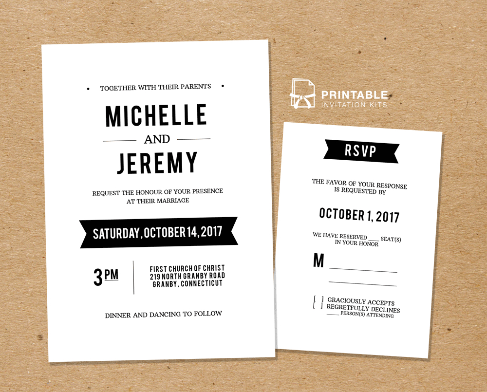 Diy Free Pdf Printable Wedding Invitation And Rsvp Wedding pertaining to sizing 1000 X 805