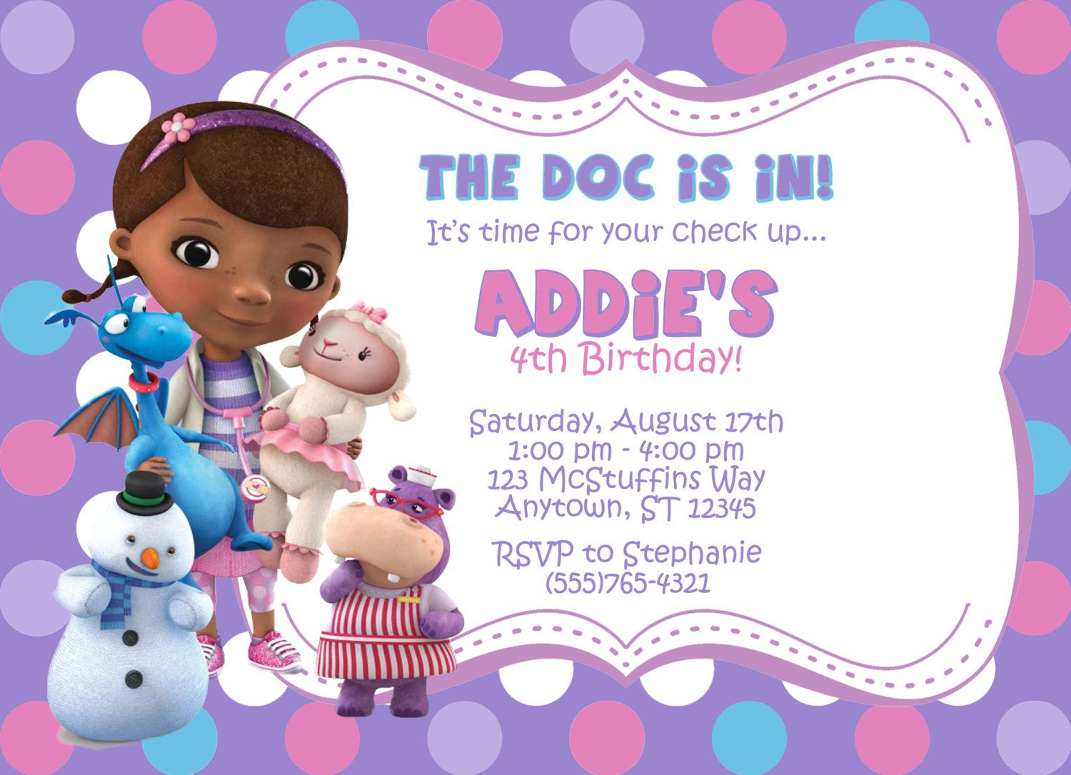 Doc Mcstuffins Invitation Partypassiondesign On Etsy 850 for size 1500 X 1086