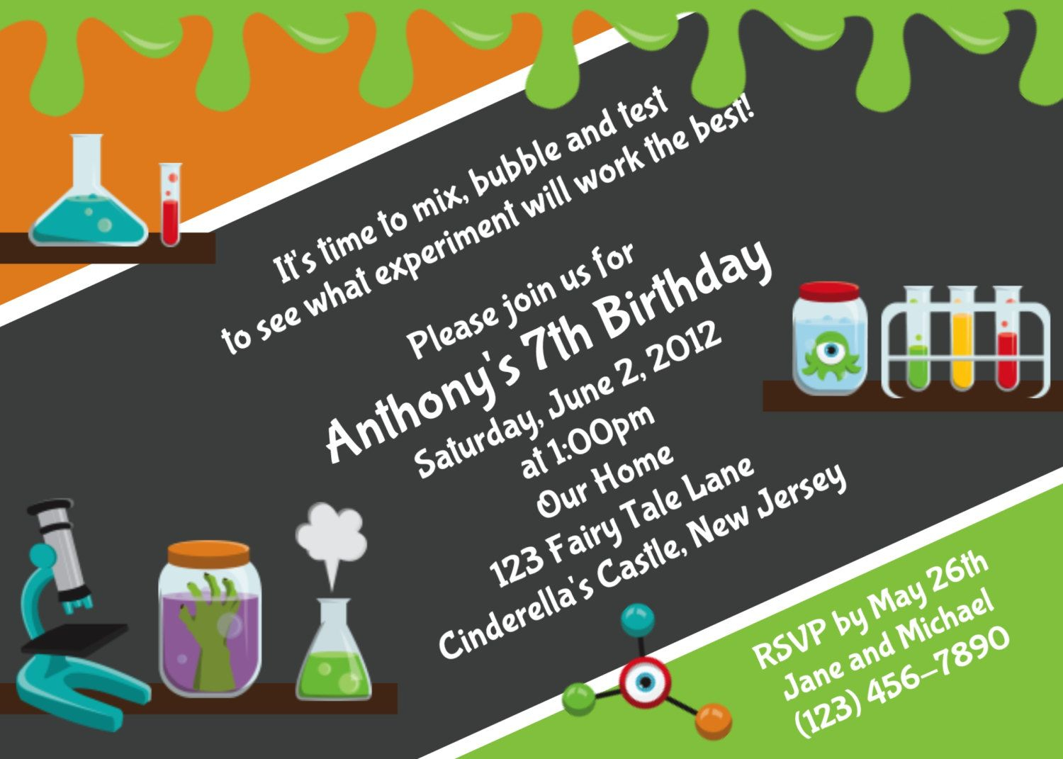 Download Free Template Mad Science Birthday Party Invitations within sizing 1500 X 1071