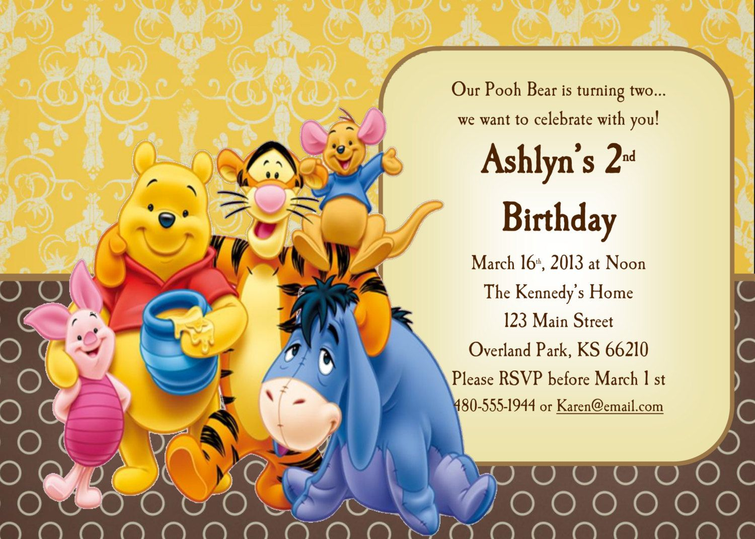 Download Now Free Template Winnie The Pooh 1st Birthday Invitations inside size 1500 X 1071