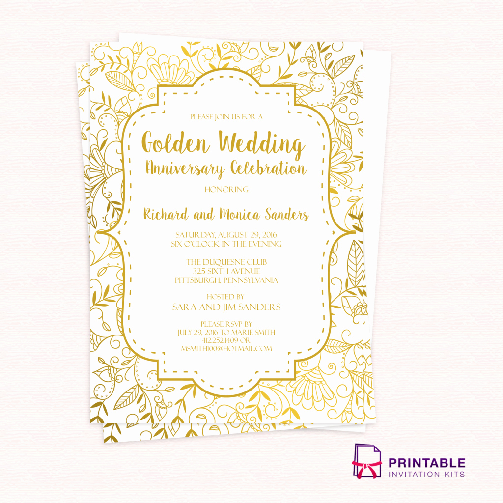Elegant Free Pdf Template Golden Wedding Anniversary Invitation throughout sizing 1024 X 1024