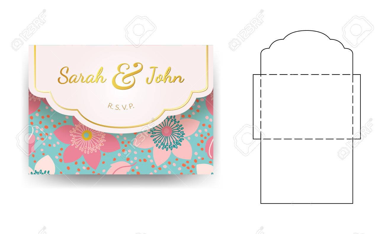 Envelope Wedding Invitation Template With Flower Pattern Can regarding sizing 1300 X 791