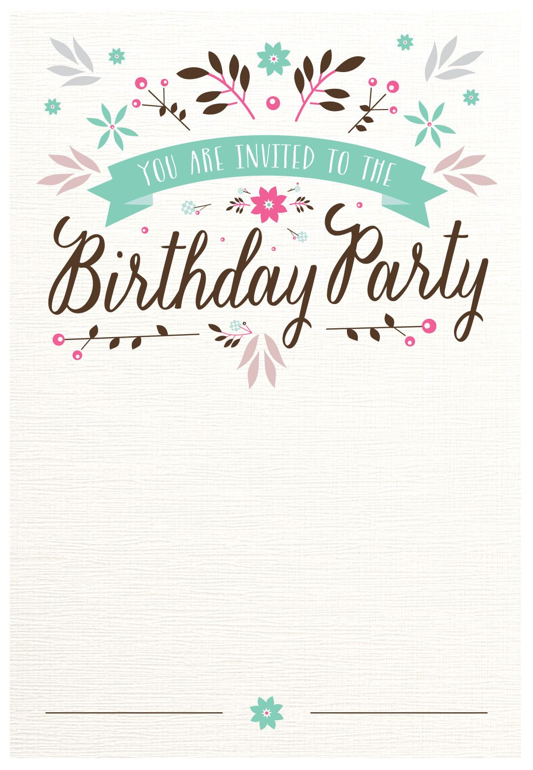 Flat Floral Free Printable Birthday Invitation Template with sizing 1080 X 1560