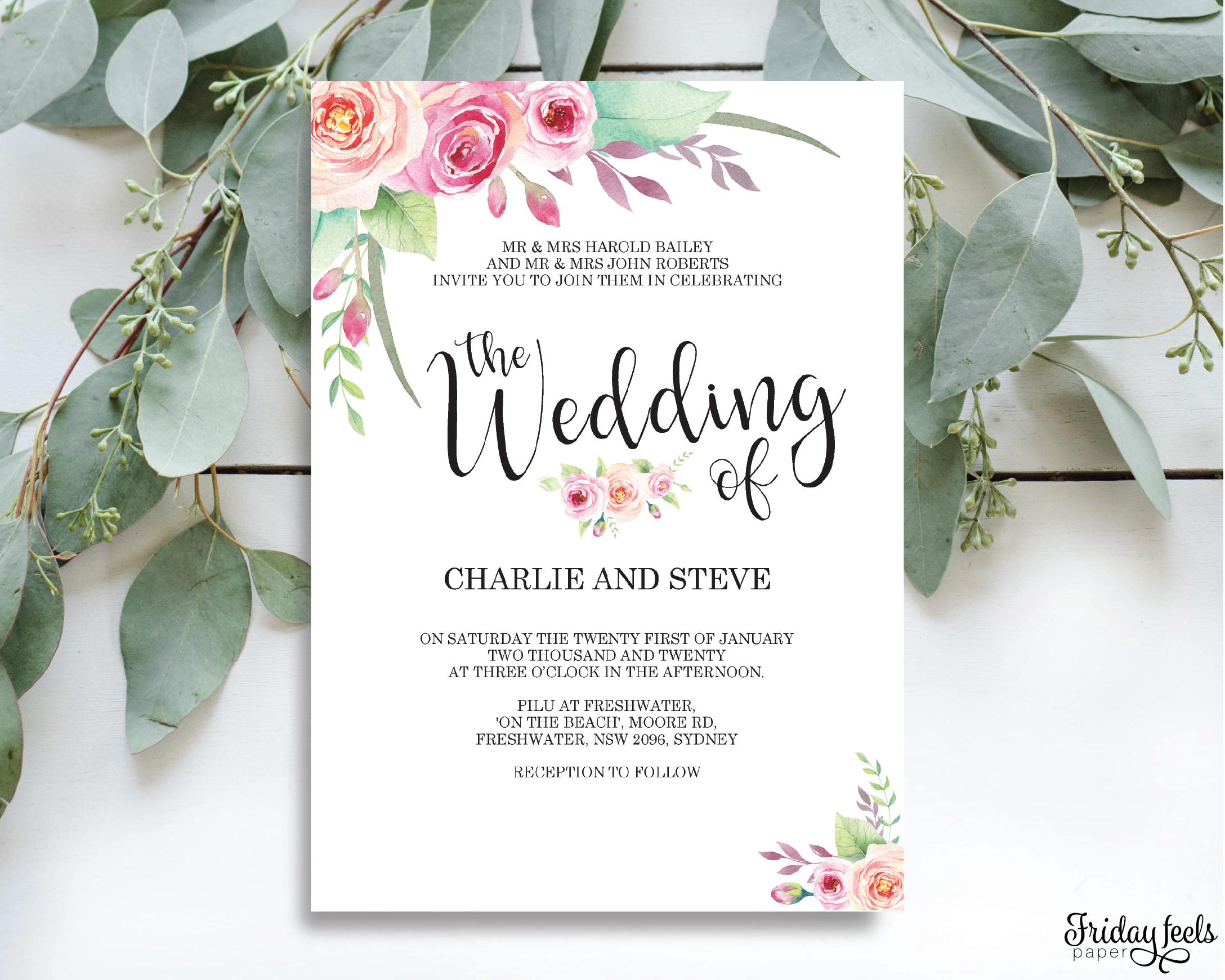 Floral Wedding Invitation Editable Pdf Template Friday Feels Paper with regard to proportions 2176 X 1741