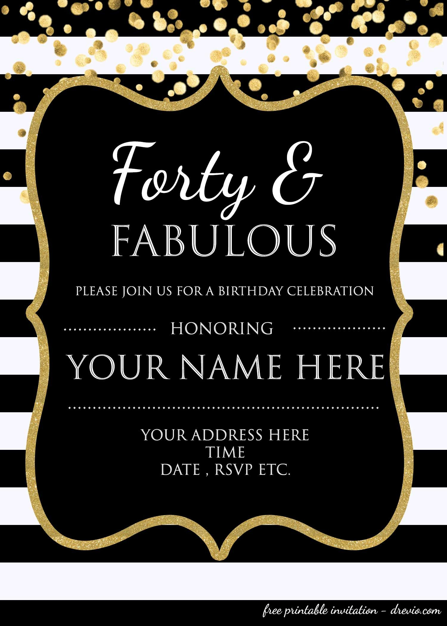 Forty Fabulous 40th Birthday Invitation Template Psd with regard to sizing 1500 X 2100