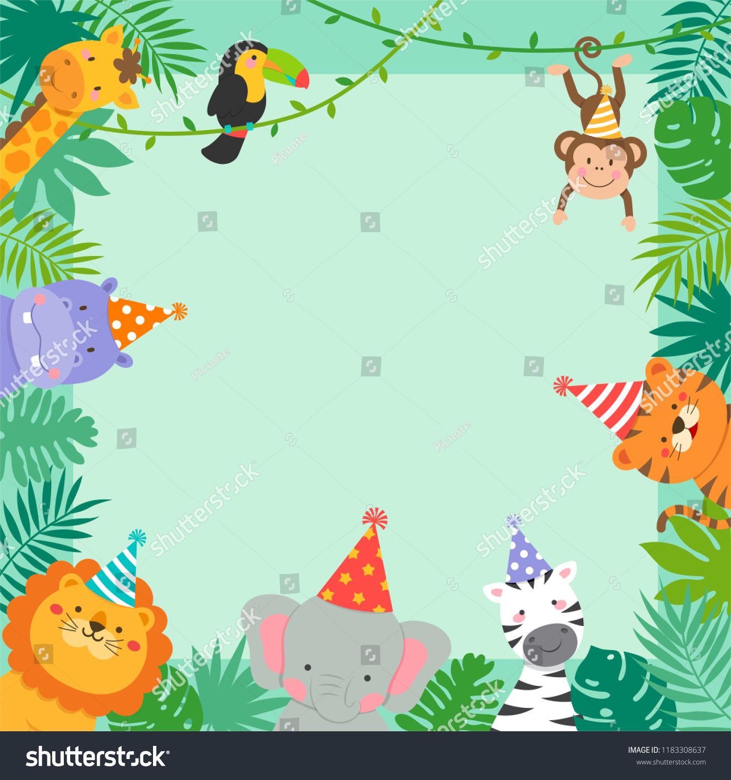 Frame Border Of Cute Jungle Animals Cartoon And Tropical Leaves For within measurements 1500 X 1600