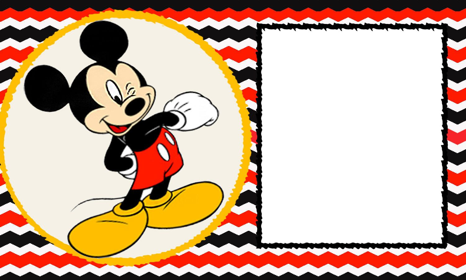 Free Blank Mickey Mouse 1st Invitation Chevron Template Drevio within sizing 1500 X 900