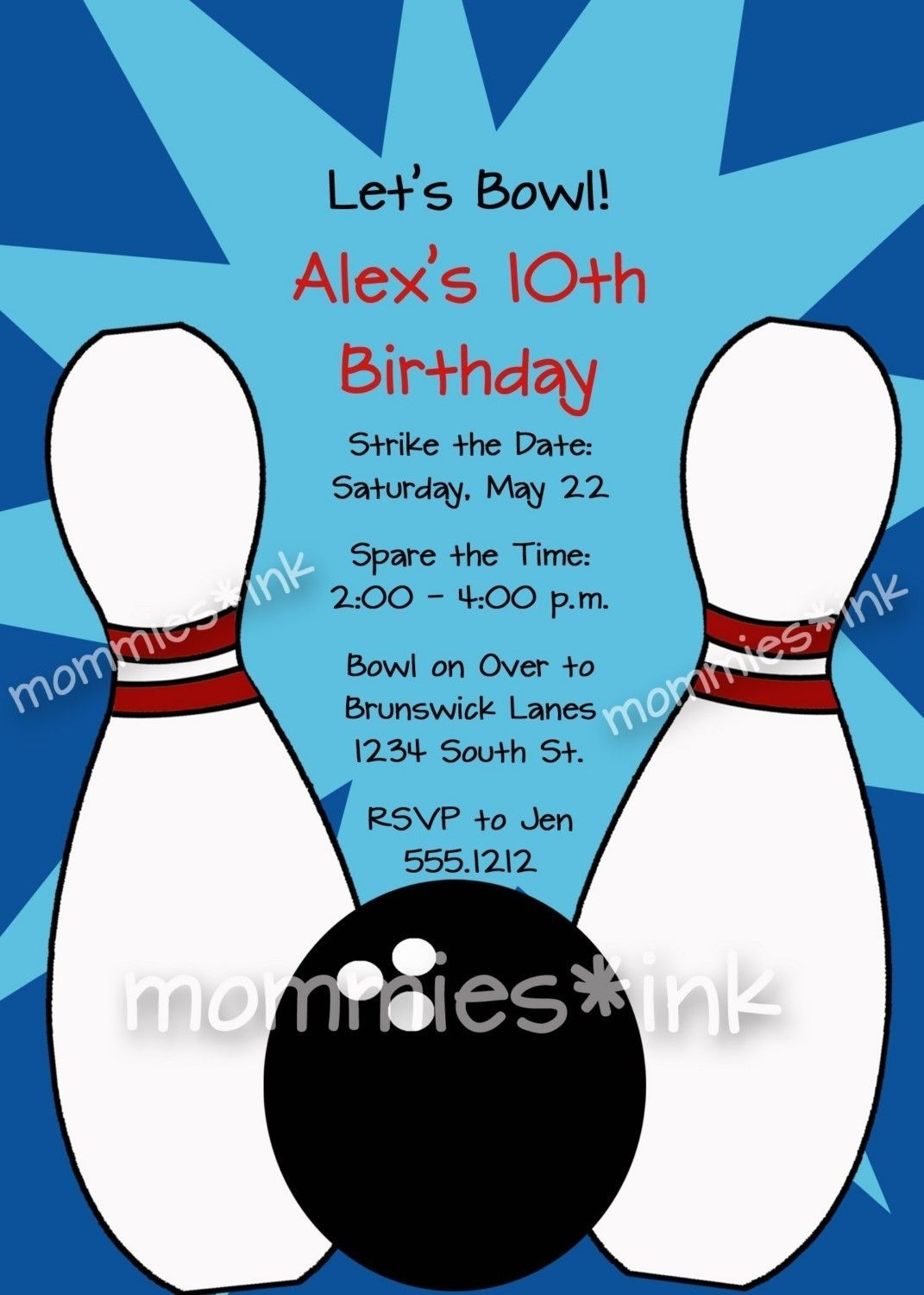 Free Bowling Party Invitations Templates With Blue Background Colors with regard to measurements 1071 X 1500