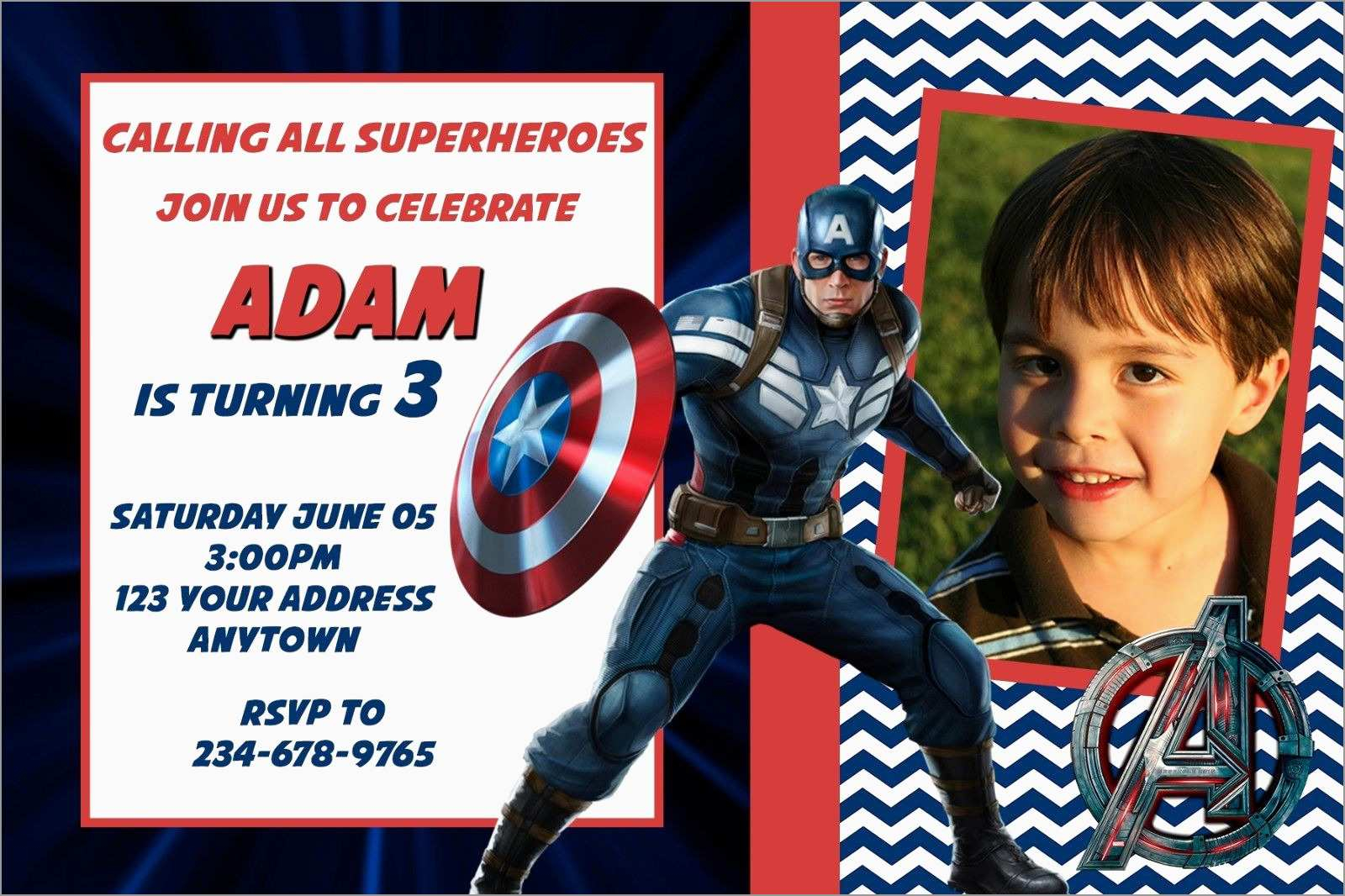 Free Captain America Invitation Templates Fresh Captain America with dimensions 1600 X 1066