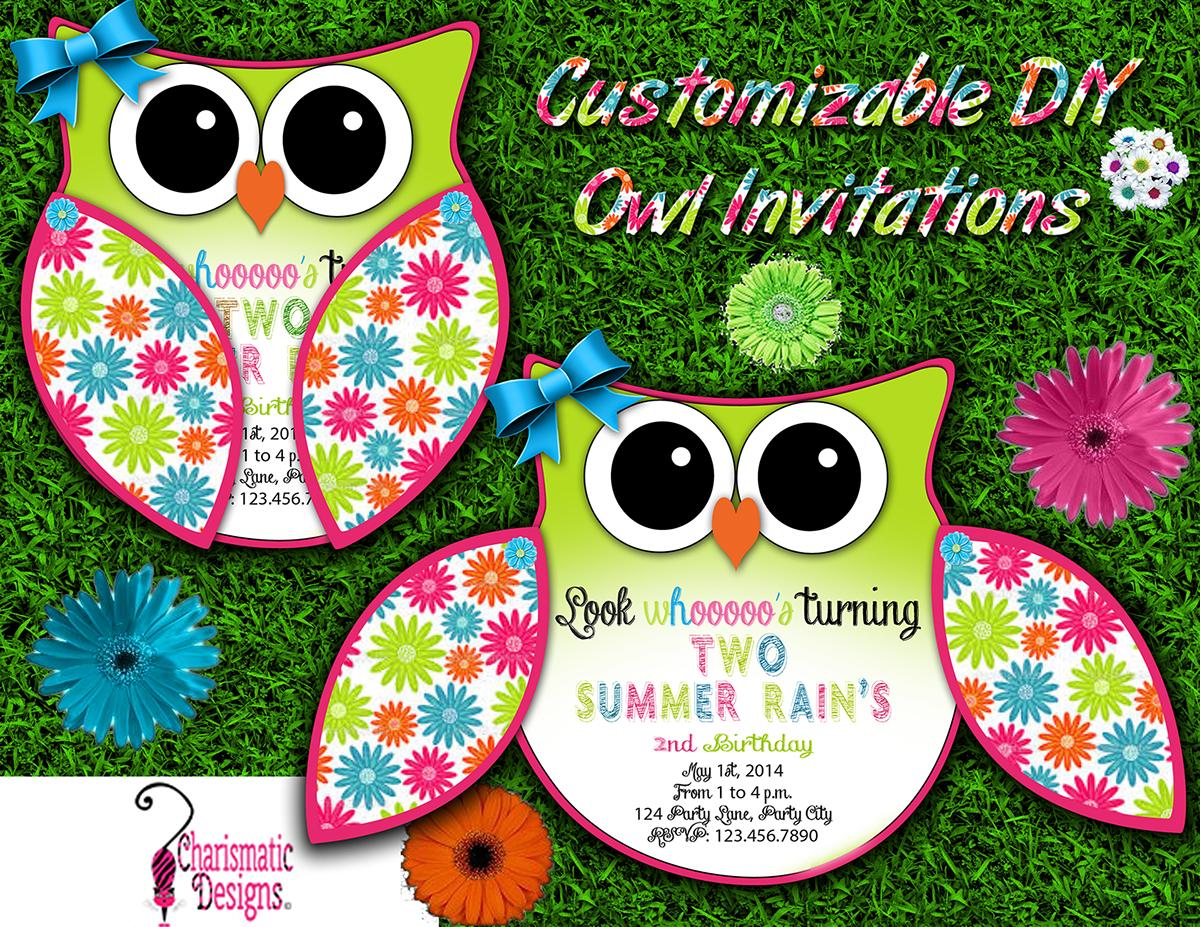 Free Diy Customizable Owl Invitation Printable Template On Behance regarding proportions 1200 X 927