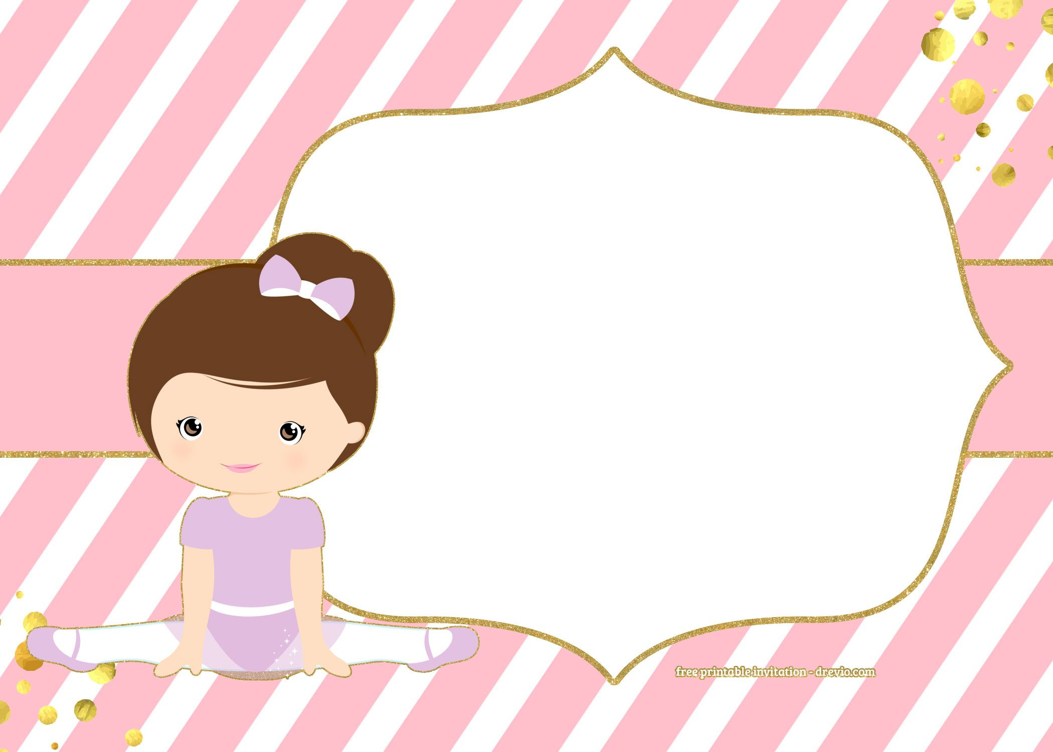 Free Golden Ballerina Birthday Invitation Chip Bags Templates with proportions 2100 X 1500