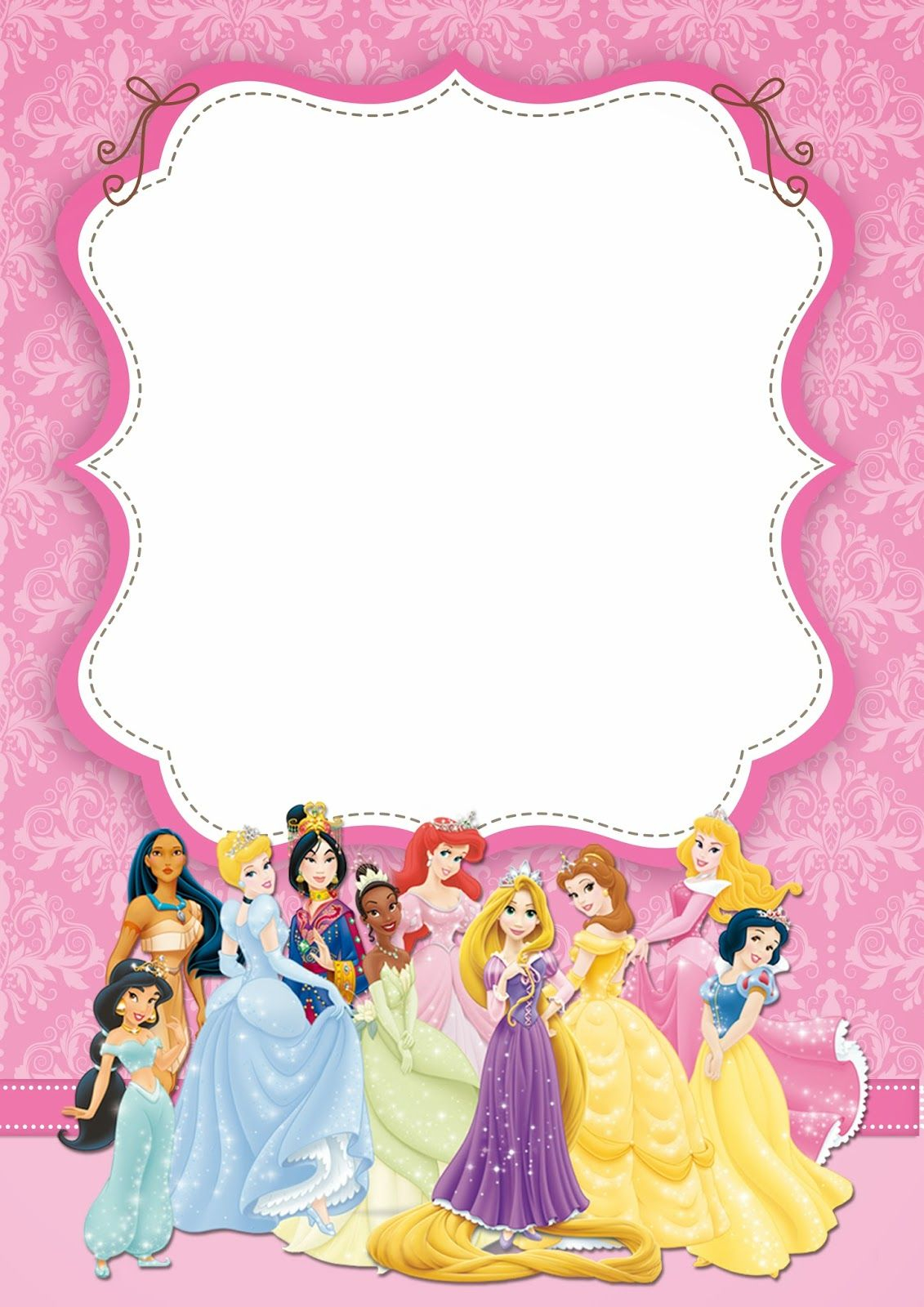Free Printable Disney Princess Ticket Invitation Pink And Gold in size 1131 X 1600