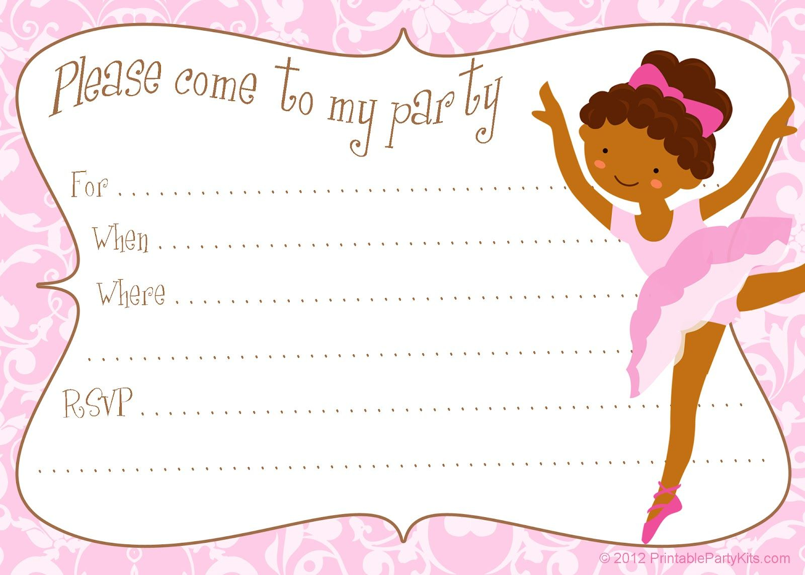 Free Printable Diy Ballerina Invitation Template Party Printables throughout measurements 1600 X 1143