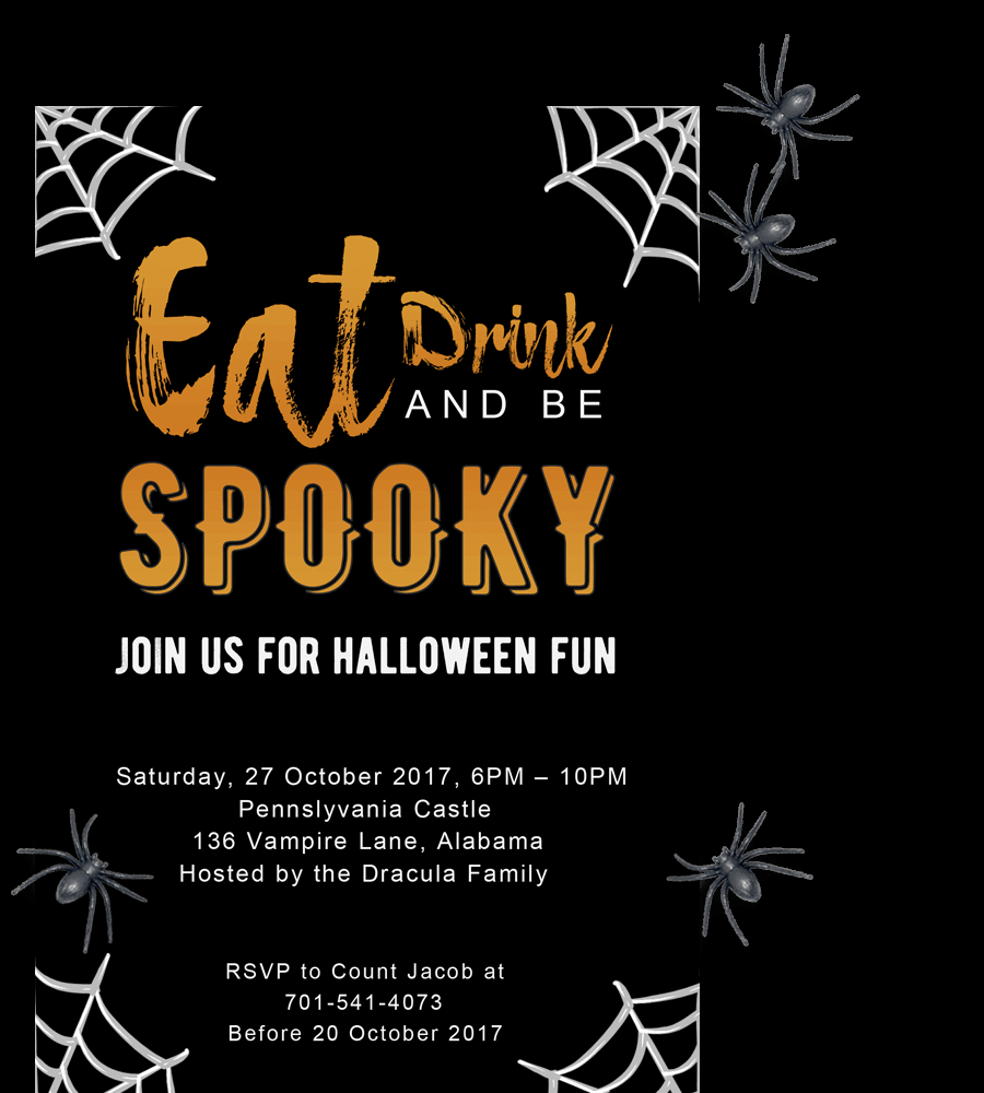 Free Printable Halloween Party Invitations 2018 Template with size 900 X 1000