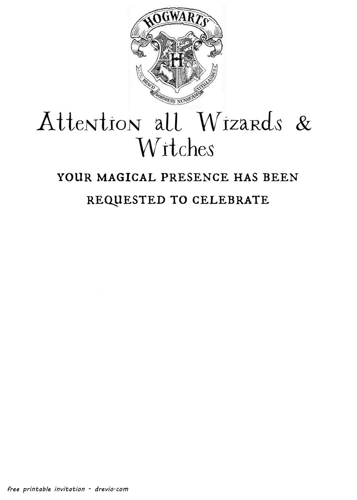 photo relating to Free Printable Harry Potter Invitations identify Invitation In direction of Hogwarts Template Office environment Template Tips