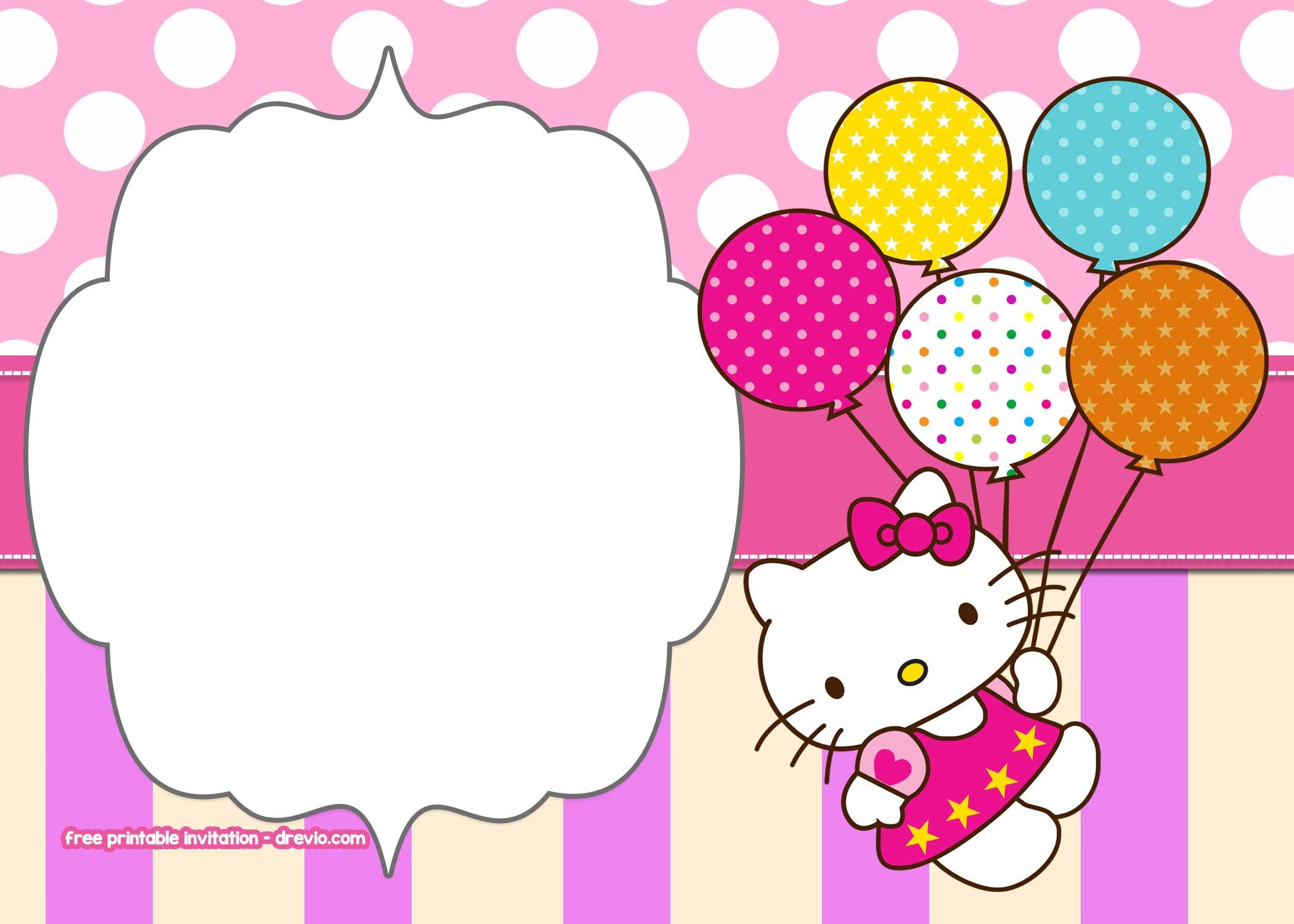 Free Printable Hello Kitty Pink Polka Dot Invitation Art with sizing 2100 X 1500