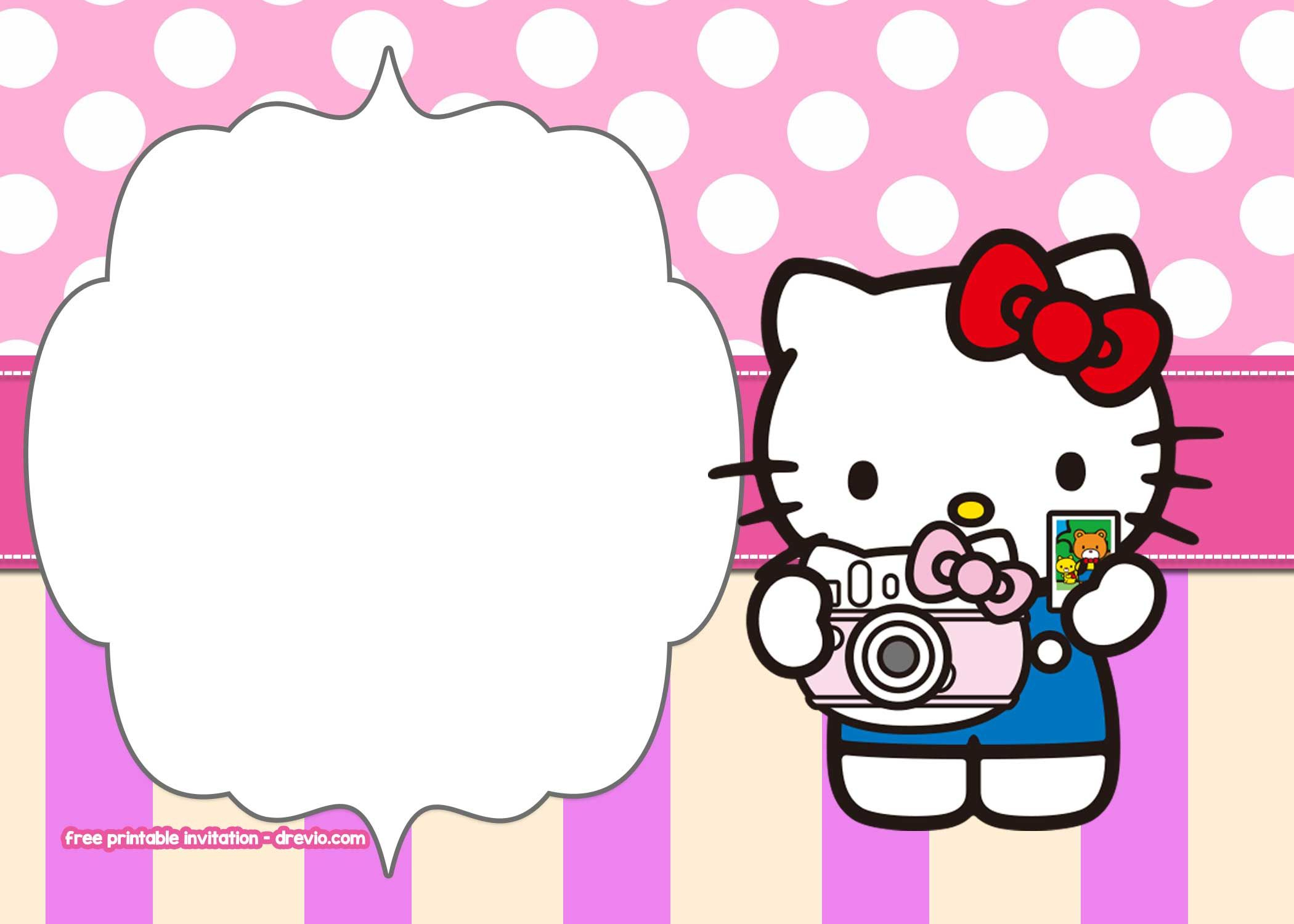 Free Printable Hello Kitty Pink Polka Dot Invitation Free in dimensions 2100 X 1500