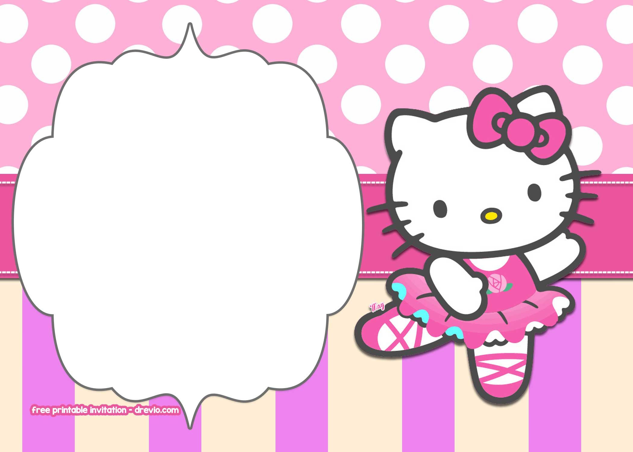 Free Printable Hello Kitty Pink Polka Dot Invitation Free inside proportions 2100 X 1500