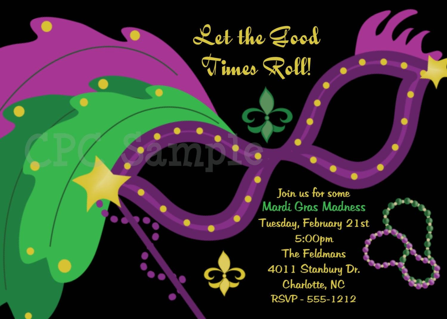 Free Printable Mardi Gras Invitations Anarchistshemale for size 1500 X 1071