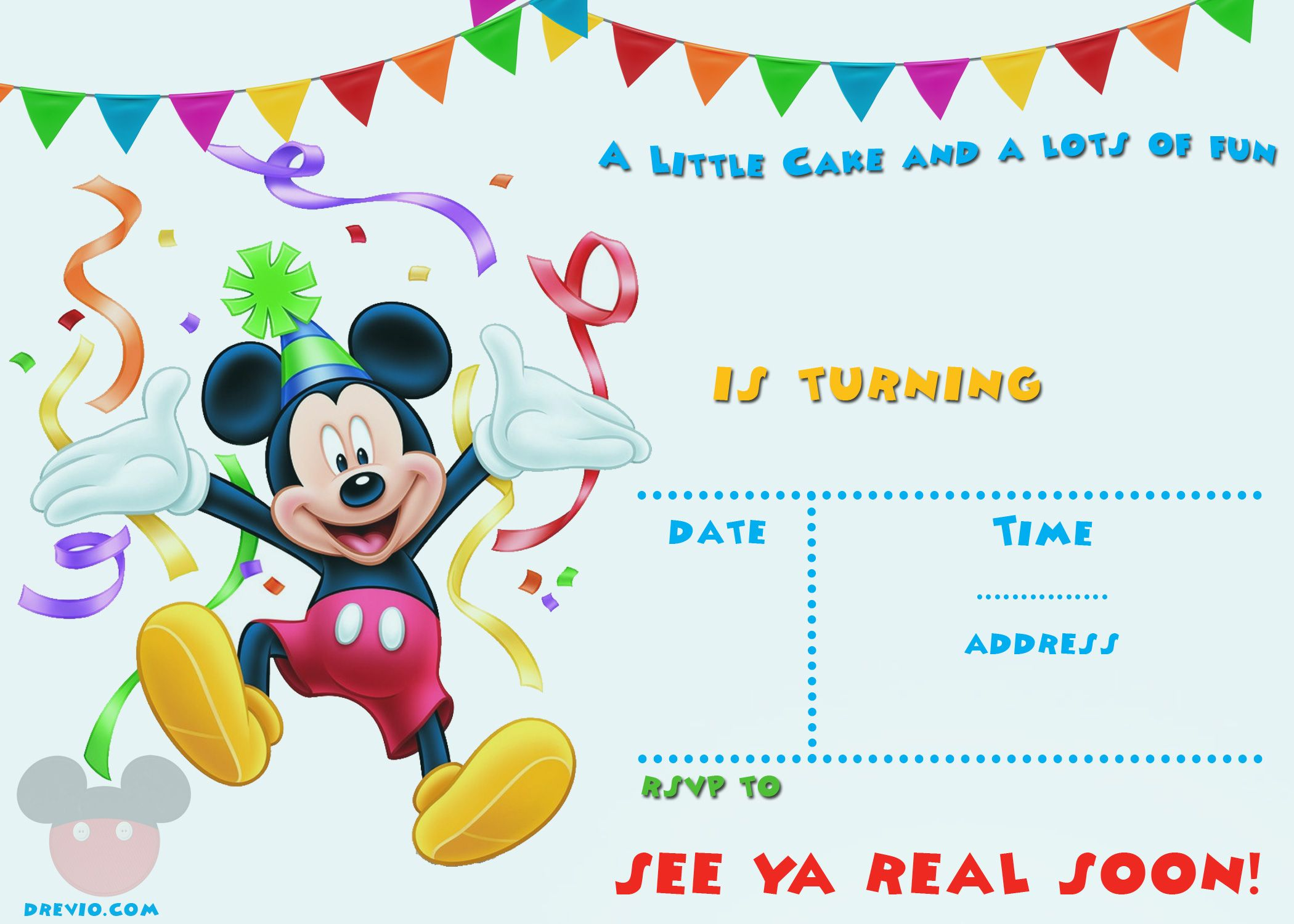 Free Printable Mickey Mouse Invitations Exclusive Free with regard to measurements 2100 X 1500