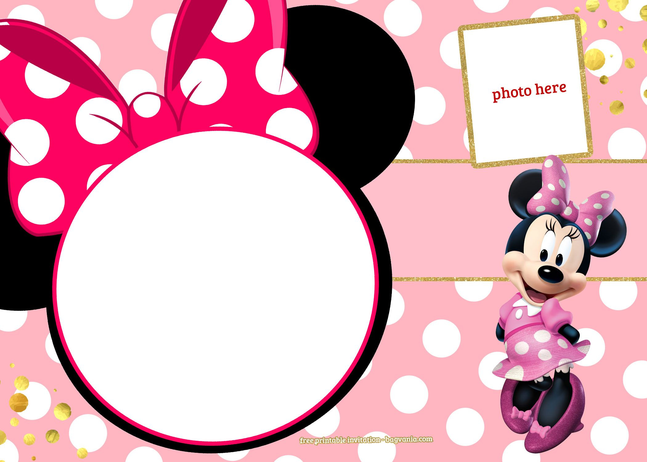 Free Printable Minnie Mouse Pinky Birthday Invitation Design inside measurements 2100 X 1500