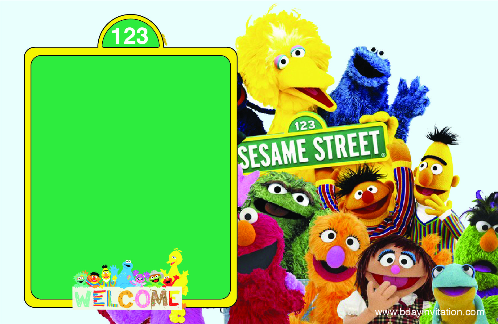 Free Printable Sesame Street Birthday Invitation Template Bday intended for size 1615 X 1052