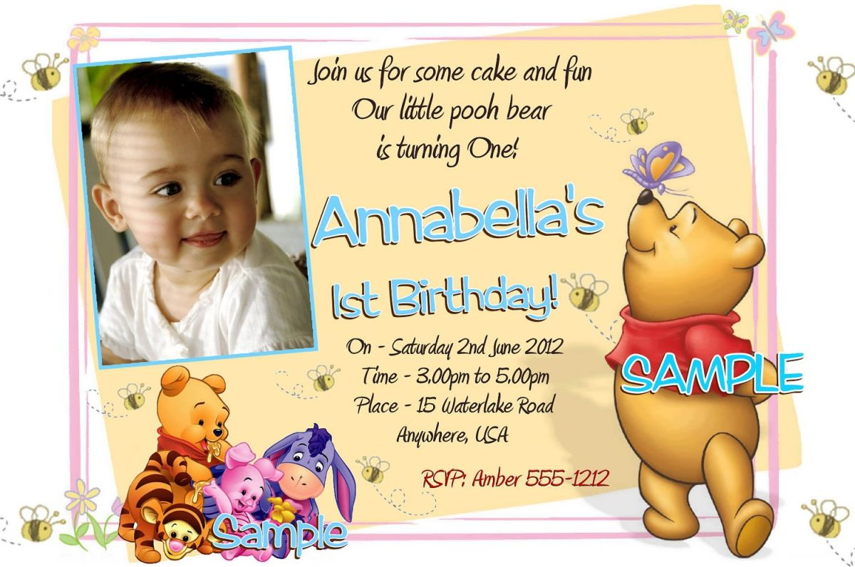 Free Printable Winnie The Pooh 1st Birthday Invitations Projects with regard to proportions 1200 X 796